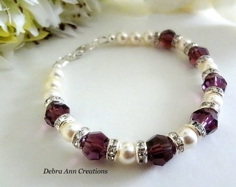February Birthstone Bracelet Amethyst Birthstone Jewelry February Jewelry Swarovski Amethyst Crystal Bracelet February Birthday Gift For Her