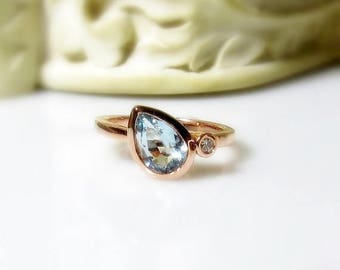 Aquamarine Pear with Diamond 14K Gold Ring, Made to Order