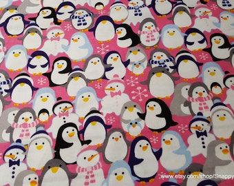 Christmas Flannel Fabric - Penguins and Snowmen on Pink - 1 yard - 100% Cotton Flannel