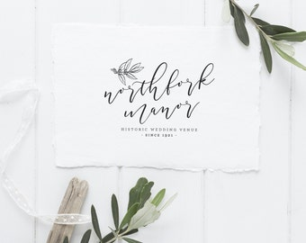Premade Logo Design Bouncy Calligraphy Shabby Chic Vintage Branding Wedding Venue