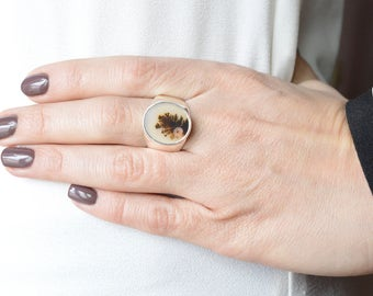 Snowy Branches Dendritic Agate Ring // Agate Jewelry // Sterling Silver // Village Silversmith