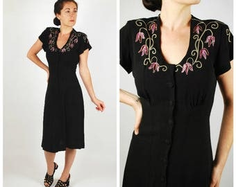 1940's Dress - 40's Sequin Black Rayon Dress - Size S/M