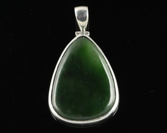 Dark Green Jade Pendant Hand Bezel Set In Sterling Silver, Semi Precious Gemstone, Nephrite Jade JN17