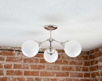 Free Shipping! Modern Chandelier Chrome Polished Nickel 3 Opal White Globe Sputnik Mid Century Edison Industrial Hanging Light Lighting
