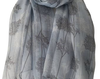 Tree Print Scarf, Blue Scarf with White and Grey Trees, Ladies Floral Wrap Shawl