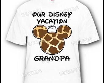Personalized Animal Kingdom Giraffe Mickey Mouse Head Disney Vacation T-Shirt
