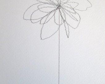 "ORIGINAL Abstract Minimalist Drawing ""Blume Series""; Botanical Drawing, Flower Drawing ON 300g heavyweight Acid-Free Paper;"
