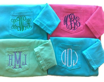 Monogram Shirt For Women- Monogram Pocket Tee - Comfort Colors -Short Sleeve T Shirt - Monogrammed Gifts- Gifts For Her-Gifts For Women