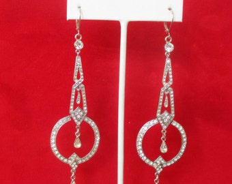 Pair of 4 1/4 Inch Art-Deco Paste Earrings