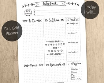 Daily Planner PRINTABLE Dot Grid - undated - A4/ A5/ Letter/ Happy Planner sizes - Print 2 x A5 on an A4 sheet - Bullet Journal Inspired