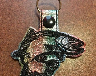 Trout - Fish - Rainbow Trout - In The Hoop - Snap/Rivet Key Fob - DIGITAL EMBROIDERY Design