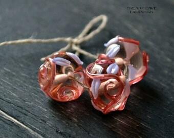 Lampwork set of beads, artisan beads ~ DIY jewelry, set of glass beads for diy jewelry, pink beads, floral beads, pink and goldstone beads