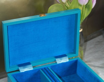 Blue & Gold Jewellery Box with original key. By Tallent of Old Bond Street, London, England.  c1960's Vintage Keepsake Box.