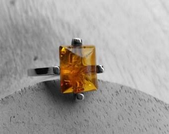 Sterling silver Cognac Baltic Amber lozenge ring