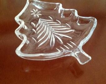 Glass Christmas Tree Dish