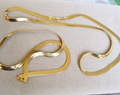 """2 HERRINGBONE NECKLACES 18"""" and 24"""" Goldtone 6mm wide Unisex Layer Set Lot Jewelry Collection"""