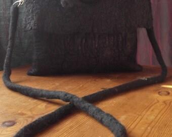 Black Handbag, Nuno Felt Bag,with Bubble Textures,O.o.a.k.