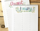 """Large Floral Watercolor Birthday Calendar, 8.5""""x11"""" Perpetual Calendar, Handmade, Botanical Hand Painted Illustration, Gift for Her"""