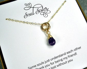 Soul Sister Gift, Soul Sister Necklace, Best Friend Gift, Best Friend Necklace, Birthday, Birthstone, Christmas Gifts, Circle, Gold Filled