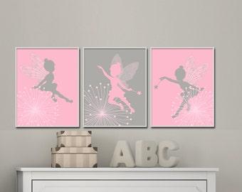 Fairy Nursery Art print, Baby Girl Pink and Grey Fairy Art, Girls Bedroom Decor- H237 - Custom Color-Unframed