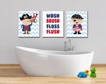 Pirate Bathroom Wall Art, Boys Bathroom Decor, Wash Brush Floss Flush Wall  Art Prints
