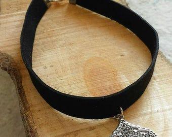 Black Suede Choker, Aztec Choker Necklace, Festival Jewelry, Coachella Necklace