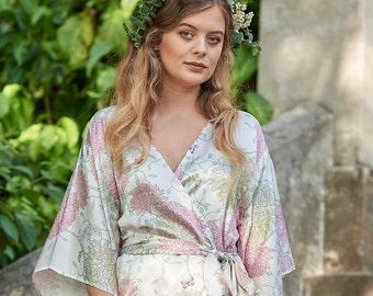 Pure Silk Kimono Robe by Ivy & Matilda X Megan Isabella | Monet's Garden Print in Ivory | Made in Australia | Bridal Robe