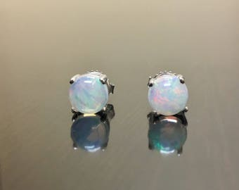 Platinum Opal Earrings - Opal Platinum Stud Earrings - Opal Stud Platinum Earrings - Opal Studs - Platinum Opal Studs - Opal Platinum Studs