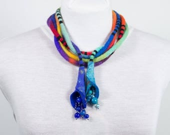 Long long Felted Necklace-Necklace textile