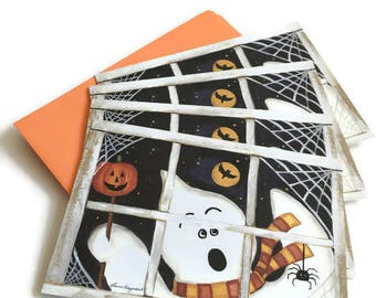 Vintage Current Halloween Greeting Cards - Set of 15 Cards and Envelopes, Ghosts, Pumpkins, Black Cats and Princess Trick or Treating, USA