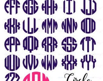 """Circle Monogram Decal - Choose 2"""", 3"""", 4"""", 5"""", 6"""", 7"""" or 8""""- perfect for phone/tablet cases, waterbottles, cars and more"""