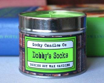Dobby's Socks Candle - Scented -  UK 8oz. , Handmade Candle, Cotton Candle. Soy Candle Tin. Tin Candles. Soy Candles. Geekery. Candle UK