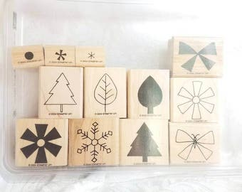 Retired Stampin Up! Shapes and Shadows rubber stamp set Butterfly, tree stamp, snowflake stamp, leaf stamp, Two step stamping, Card stamp