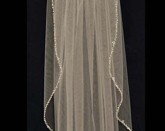 Crystal and Pearl Beaded Edge Fingertip Length Wedding Veil in White or Ivory