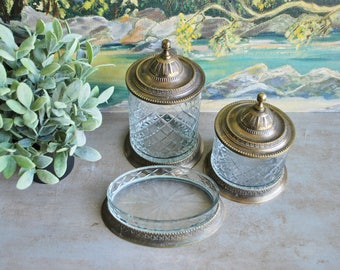 Vintage Ornate Containers and Tray Brass/Bronze/Silver-Plated and Cut Crystal 3-Piece Set Hollywood Regency Victorian Cottage Country Decor