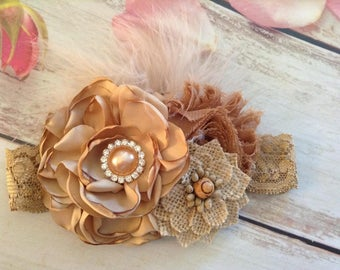 Burlap girls couture headband-photo prop,accessories,wedding,country rustic hair