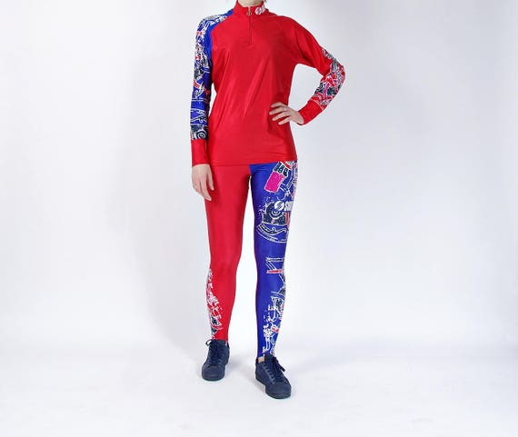 SALE - 80s SWIX Red Blue Stirrup Sportswear Suit Made in Italy / Size L