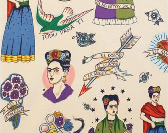 """Frida Kahlo Todo Para Ti """"All for You"""" 100% Cotton Fabric, Tea (very light beige) background by Alexander Henry"""