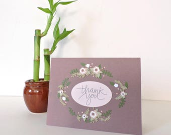 Floral Thank You Card | maroon, floral wreath, thankful, thanks, appreciation, bohemian, boho, shabby chic, layered handmade, dainty, cute