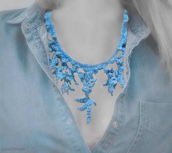 Light Blue Crochet Necklace With Beads