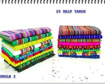 Aztec fabric, Mexican Fabric Bundle, Half Yard Bundle Of 20, Bohemian Fabric, Striped fabric, Ethnic fabric, Fabric By The Yard.