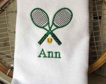 "Tennis Gift - Personalized Tennis Towel -  ""Crossed Tennis Racquets in Green"" #419G"
