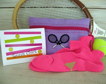 Tennis Gift Set ON SALE! - Purple and Deep Pink Cosmetic Tennis Bag, Tennis Socks and Pack of Tennis Cards #143set