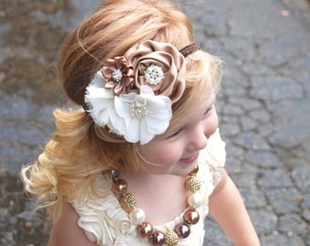 Baby Headbands, flower girl headband,  ivory headband,  toddler headband, autumn headband, brown headband, hair bows, Fall headband