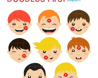Silly Kids Digital Clip Art for Scrapbooking Card Making Cupcake Toppers Paper Crafts