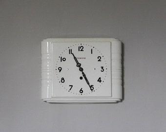 Vintage French Vedette Wall Clock, Cream Porcelain, Ceramic Clock, 1950s Retro Wall Clock