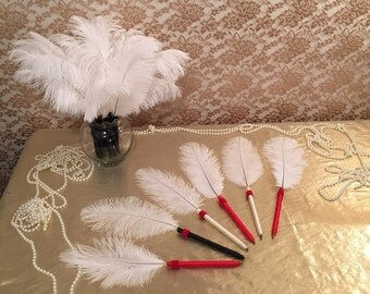 6 FEATHER PEN FAVORS Red Wedding Party Favor Decorations