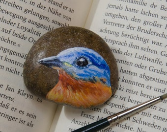Handpainted Rock - Painted Rocks - Eastern bluebird