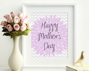 Happy Mother's Day Gift for Her Mom Gift Purple Peonies Happy Mothers Day Gift For Mom Peony Printable Instant Download