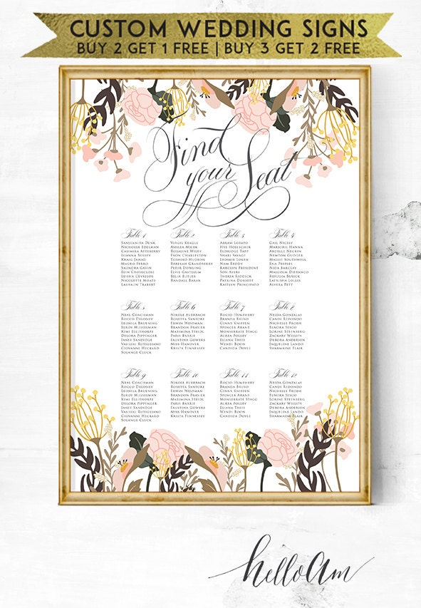 wedding seating - seating chart poster - seating chart - wedding seating plan - wedding chair signs - wedding welcome sign - wedding sign